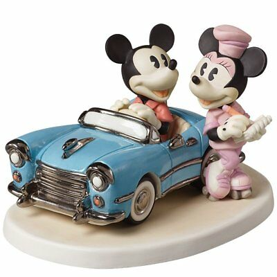 Mickey Mouse Minnie Precious Moments Classic Car Hop You Make My Heart Race NWOB