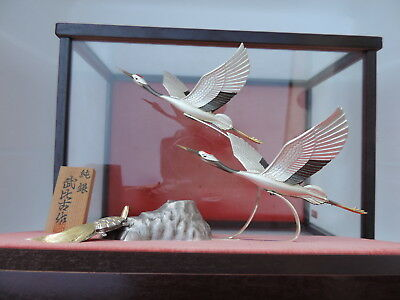 Exquisite Signed Japanese Sterling Silver Cranes Turtle Figurines Takehiko Japan