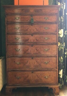 Antique Walnut Tallboy Chest Of Drawers, Essex