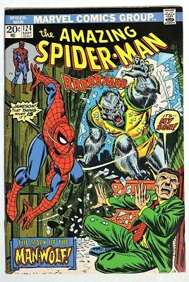 S487. THE AMAZING SPIDER-MAN #124 Marvel 7.0 FN/VF (1973) 1st App. of MAN-WOLF =