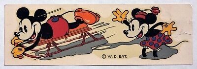 S483. W. D. Ent. MICKEY MOUSE Flexible Flyer Sled UNUSED Original Decal (1936) [