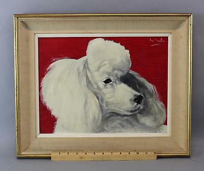 1950s Signed Mid Century, FRENCH POODLE Dog Portrait Oil Painting