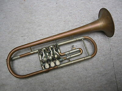 "Interesting old rotary  trumpet in Bb ""Prim Lidl"" Early miniball!"