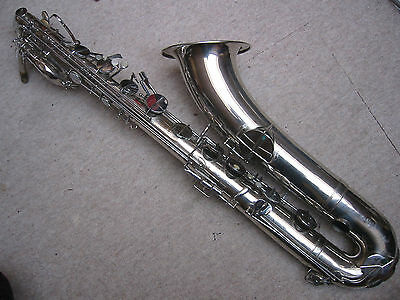 "Badly damaged old Baritone Saxophone by ""V. Kohlerts Söhne Graslitz Böhmen"""