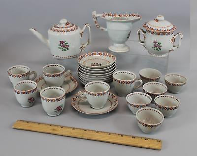 26pc Antique 18thC Chinese Export Hand Painted Floral Porcelain Teaset, NR