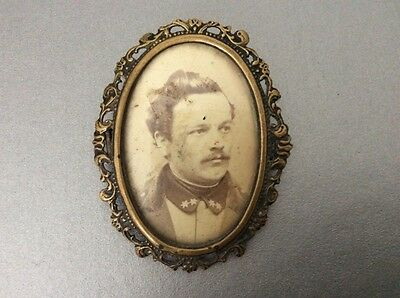 Antique Photograph Brooch / Civil War / Union Army / Victorian miniature