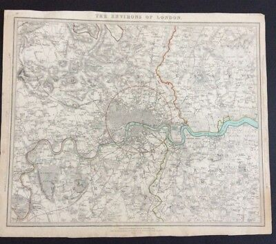 Original 1832 Map, The Environs of London Baldwin & Cradock England Antique