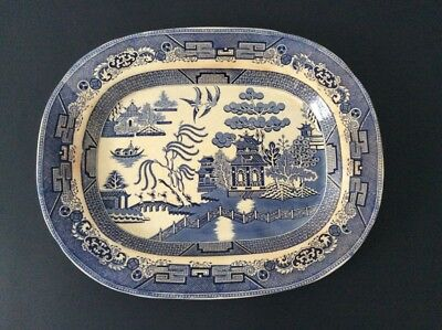 """Large 18"""" Blue Willow Serving Platter Transferware Tray Staffordshire Dish"""