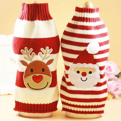 Christmas Pet Dog Puppy Clothes Striped Knit Crochet Sweater Jumper Top Pullover