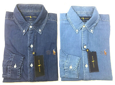 Polo Ralph Lauren Mens Denim Chambray Slim Fit Oxford Top Shirt  S M L Xl