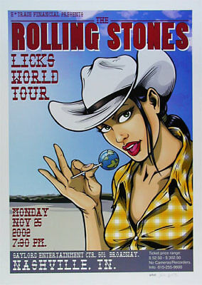 Rolling Stones Licks World Tour Nashville 2002 Poster hand signed by Joe Whyte