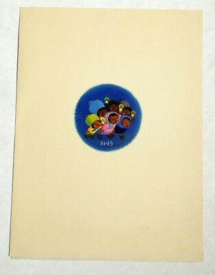 M219. Vintage: WALT DISNEY STUDIO Christmas Card THREE CABALLEROS (1944) [
