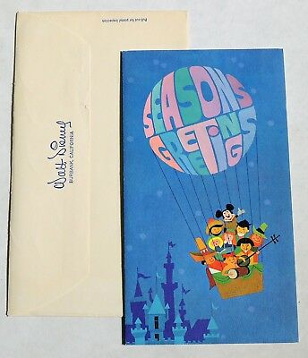 M218. Vintage: WALT DISNEY STUDIO Christmas Card Seasons Greetings (1966) [