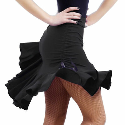 Womens Latin salsa Tango Rumba Cha Cha Ballroom Dance Dress Skirt Black US Ship