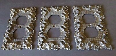 3 DECORATIVE Outlet SWITCH COVERS AMERICAN TACK & HDWE CO 1968 VINTAGE 75D Metal