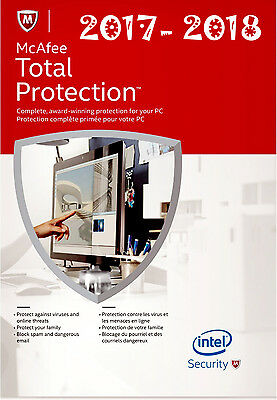 McAfee Total Protection 2017-2018 Internet Security 1 Year 1 PC RRP £12