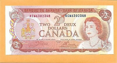 1974 Canadian 2 Dollar Bill Agw6302348 Very Nice (Unc)