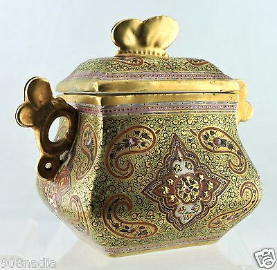 Antique Coalport Cashmere Lidded Bowl Box Gold Paisley Butterfly 19 Century