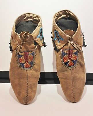 Antique Athabaskan Athabascan Moccasins Moose Hide Beaded Moccasins