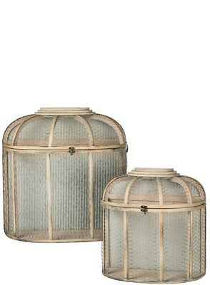 Hanging Metal Wood Wall Hutches- Wall Pockets- Lanterns FARMHOUSE-Set 2