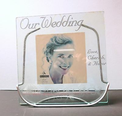 Glass Wedding Picture for 5 x 5 photo with silver metal stand