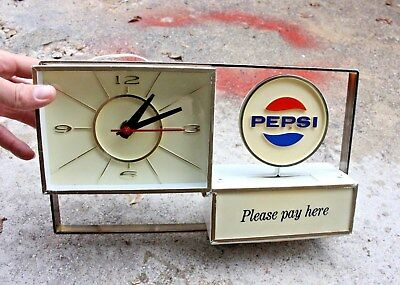 Vintage Pepsi Cola Counter Top Clock Sign Display Please Pay Here soda Pop