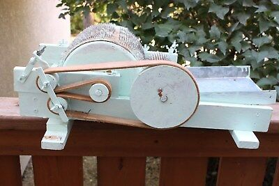 Vintage DRUM CARDER Wool Carder Antique Wood Handle Farm Tool Sheep Spinning