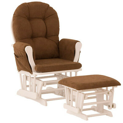 Hoop Glider & Ottoman - White, Chocolate - 06550-691