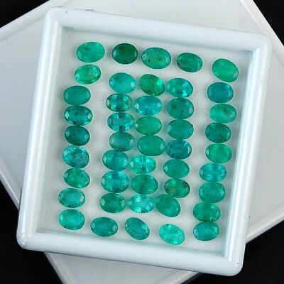 36 Cts/45 Pcs ~Certified Lot~ Untreated Finest Green Natural Zambian Emerald Lot