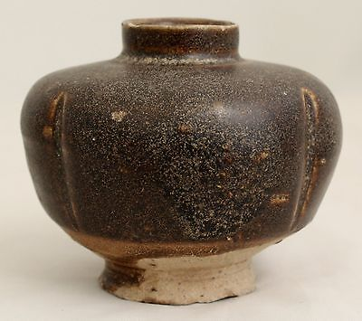 Authentic Chinese Song to Yuan Brown Black Temmoku Glaze Melon Jar Jarlet