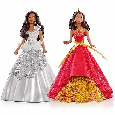 New In Box 2015 Hallmark Celebration Holiday Barbie™  of Color Ornament Set