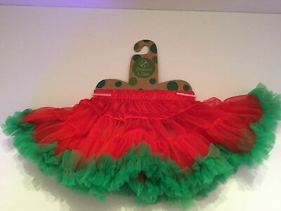 Infant Girls Small Red Green Tutu Christmas Tuille