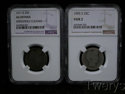 Lot Of 2 Pieces Liberty Head Barber 25 Cents Ngc Fair 2 And Ag Details