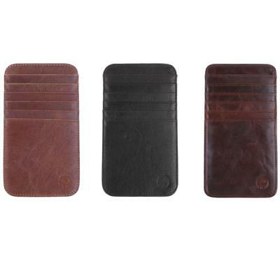 Mens PU Leather Slim Credit Card Holder 12 Slots Case Handmade Wallet