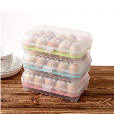 15 Egg Holder Plastic Refrigerator Kitchen Storage Foldable Container Home Box e