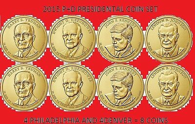 2015 P & D Complete 8 Coin Presidential Dollar Set