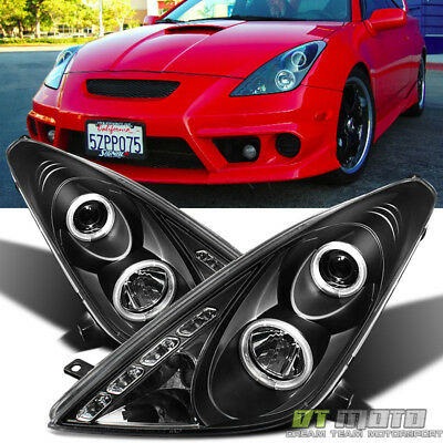 For Black 2000-2005 Toyota Celica LED Halo Projector Headlights Lamps Left+Right