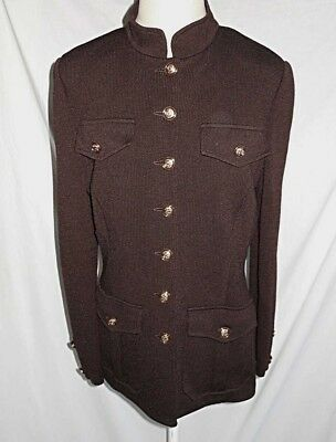 St John Marie Gray Deadstock Vintage Knit Jacket Blazer Military NOS Brown 8