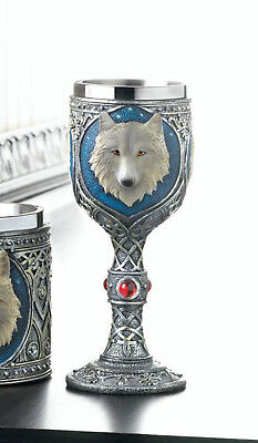 medieval Dire WOLF direwolf throne bar Goblet Drink wine Glass pimp CUP statue