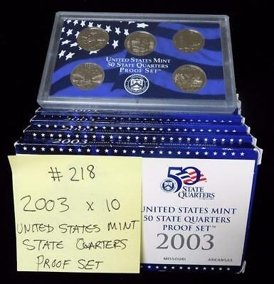 Picker's Delight Box #218 TEN 2003 US Mint State Quarters Proof Sets