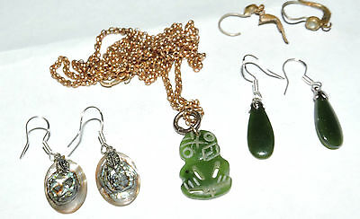 Tiki maori carved jade+ 2 pr earrings green stone netherite paua 80's