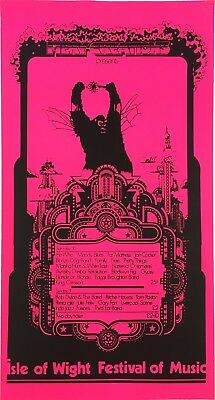 1969 Isle of Wight Festival Bob Dylan Who Original Fillmore-Era Concert Poster