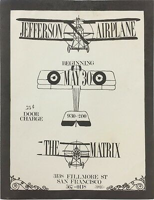1966 Jefferson Airplane The Matrix Fillmore Era Concert Handbill Flyer