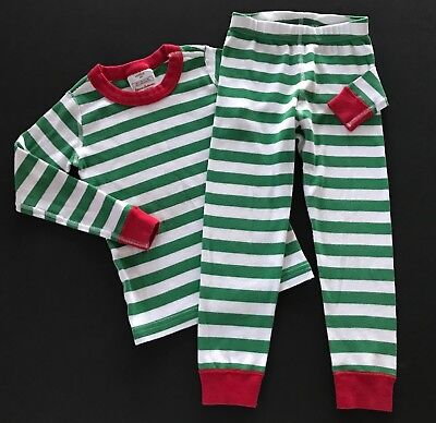 HANNA ANDERSSON Holiday Green/White Stripe Pajamas Long Johns Size 100 4T