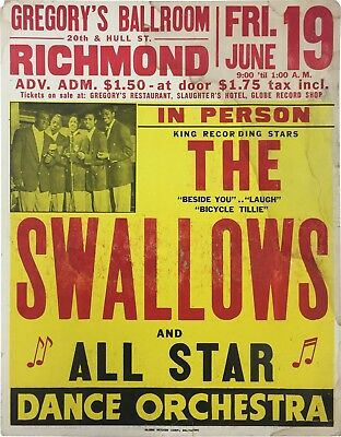 1953 The Swallows Gregory Ballroom Pre-Fillmore Boxing Style Concert Poster