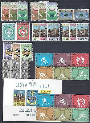LIBYA 1960s 74 COLLECTION OF 24 MINT COMPLETE SETS INCLUDES IMPERF OLYMPICS SCOU