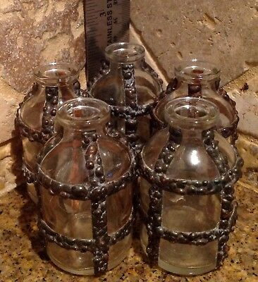 "VIntage 2 1/4"" Tall Glass & Hammered Copper Accent Apothecary Medical Jar Bottle"