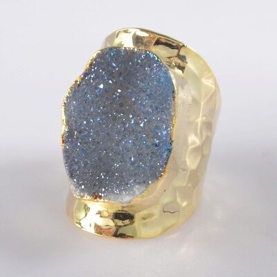 Defective Scratched Size 7 Natural Agate Titanium Druzy Ring Gold Plated B049175