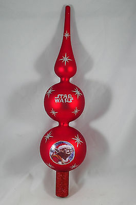 Red and Silver Glittered Star Wars Yoda Christmas Tree Topper new