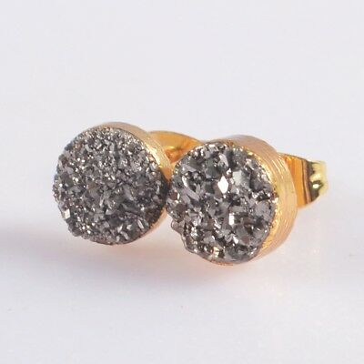 8mm Round Natural Agate Titanium Druzy Stud Earrings Gold Plated B049187